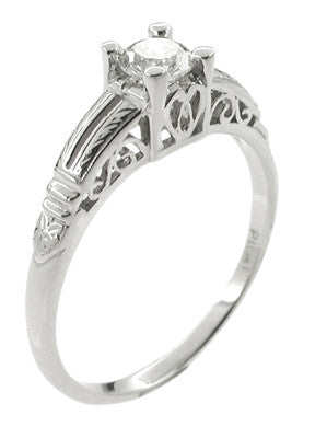 Art Deco Filigree Solitaire Engraved Diamond Engagement Ring in Platinum