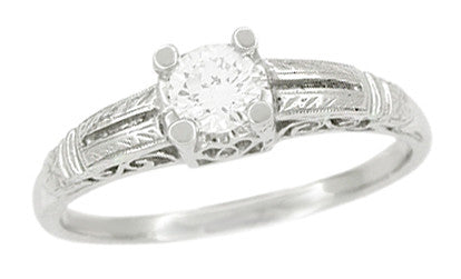 Art Deco Filigree Solitaire Engraved Diamond Engagement Ring in Platinum - Item: R297 - Image: 1