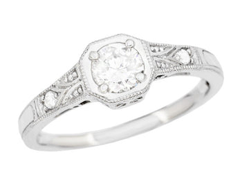 Mayfair Art Deco Platinum Filigree Old Diamond Engagement Ring