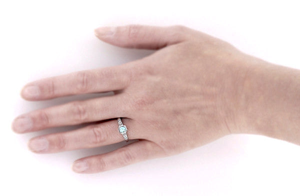 Art Deco Filigree Aquamarine and Diamond Engagement Ring in Platinum - Item: R298PA - Image: 2