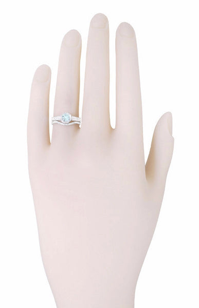 Art Deco Filigree Aquamarine and Diamond Engagement Ring in Platinum - Item: R298PA - Image: 3