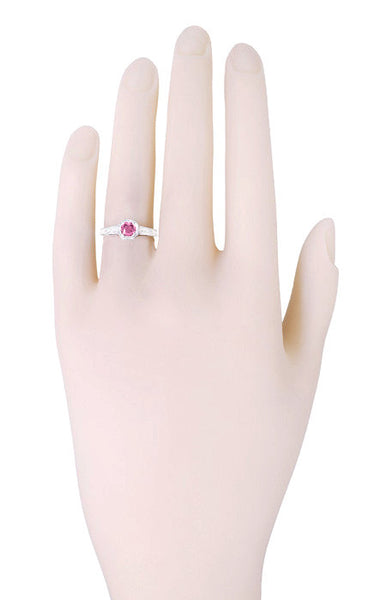 Art Deco Filigree Pink Sapphire and Diamond Engagement Ring in Platinum - Item: R298PPS - Image: 2