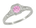 Art Deco Filigree Pink Sapphire and Diamond Engagement Ring in Platinum