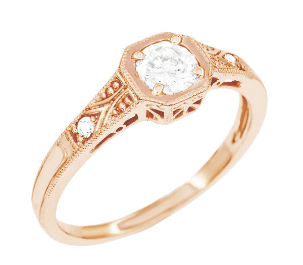 1930s Art Deco Rose Gold Low Profile Diamond Engagement Ring