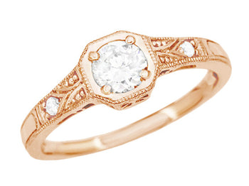 1930's Art Deco 14 Karat Rose Gold Low Profile Diamond Engagement Ring