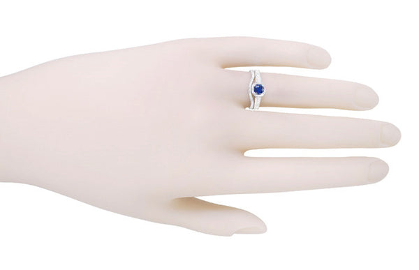 Art Deco Filigree Sapphire and Diamond Platinum Engagement Ring - Item: R298S - Image: 3