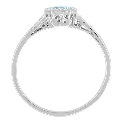 Art Deco Filigree Aquamarine and Diamond Engagement Ring in 18 Karat  White Gold - Item: R298WA - Image: 1