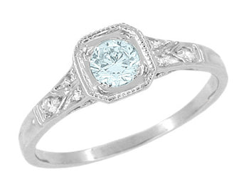 Art Deco Filigree Aquamarine and Diamond Engagement Ring in 18 Karat  White Gold
