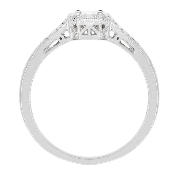 Filigree 0.40 Carat Diamond Art Deco Engagement Ring in 18 Karat White Gold - Item: R298WD - Image: 2