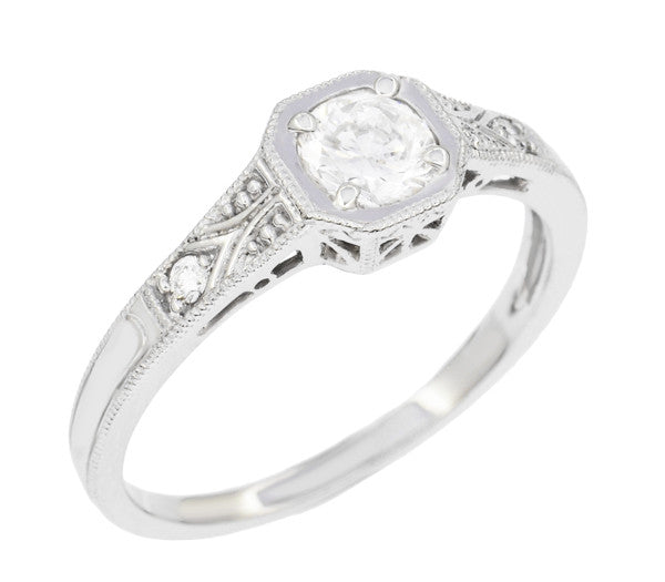 Filigree 0.40 Carat Diamond Art Deco Engagement Ring in 18 Karat White Gold - Item: R298WD - Image: 1