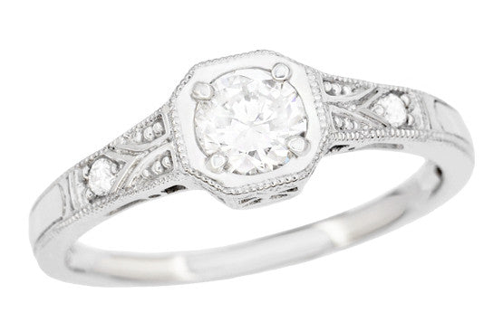 Filigree 0.40 Carat Diamond Art Deco Engagement Ring in 18 Karat White Gold