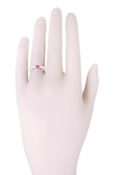 Art Deco Filigree Diamond and Pink Sapphire Engagement Ring in 18 Karat White Gold - Item: R298WPS - Image: 3
