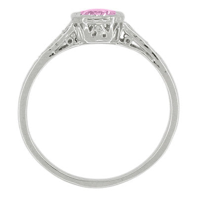 Art Deco Filigree Diamond and Pink Sapphire Engagement Ring in 18 Karat White Gold - Item: R298WPS - Image: 1