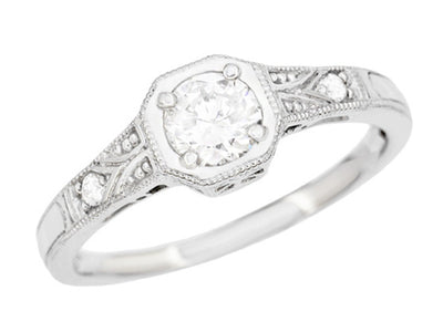 Art Deco Filigree White Sapphire Engagement Ring in 18 Karat White Gold