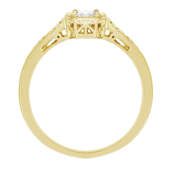 18K Yellow Gold 1930's Art Deco Filigree Low Profile 1/2 Carat Diamond Engagement Ring - Item: R298YD - Image: 2