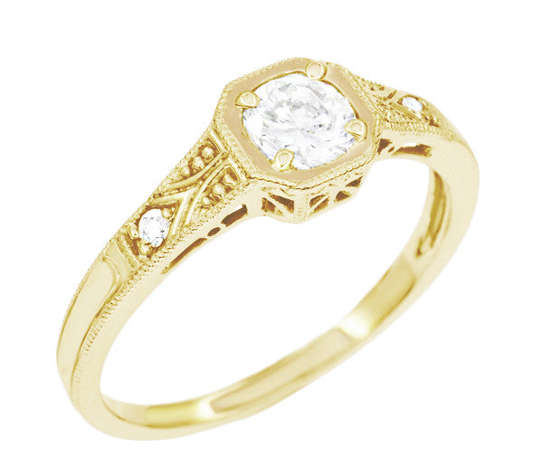 18K Yellow Gold 1930's Art Deco Filigree Low Profile 1/2 Carat Diamond Engagement Ring - Item: R298YD - Image: 1