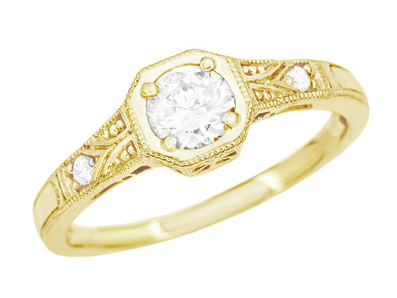 18K Yellow Gold 1930's Art Deco Filigree Low Profile 1/2 Carat Diamond Engagement Ring