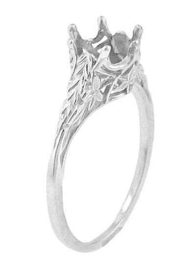 Engraved Sides and Filigree Cut Out Leaves on Art Deco Solitaire Crown Antique Ring Setting for a 3/4 Carat Diamond in White Gold - R299