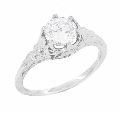 Art Deco Crown of Leaves Filigree 3/4 Carat Engagement Ring Setting in 18 Karat White Gold - Item: R299 - Image: 4