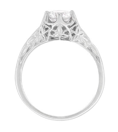 Side View of Filigree Leaves - White Gold Art Deco Solitaire Crown Antique Ring Semimount with a 3/4 Carat Diamond - R299
