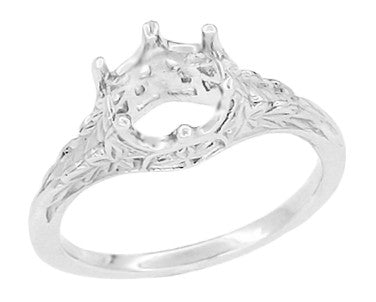 Art Deco Crown of Leaves Filigree Solitaire Vintage Ring Setting for a 3/4 Carat Diamond in White Gold - R299