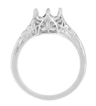 Side Filigree Leaves on Art Deco Solitaire Crown Vintage Ring Setting for a 3/4 Carat Diamond in White Gold - R299