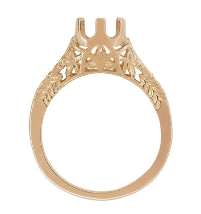 Art Deco 3/4 - 1 Carat Crown of Leaves Filigree Engagement Ring Setting in 14K Rose Gold - Item: R299R1 - Image: 1