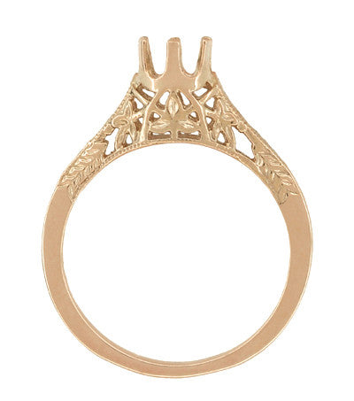 1/4 - 1/3 Carat Crown of Leaves Filigree Art Deco Engagement Ring Setting in 14 Karat Rose Gold - Item: R299R25 - Image: 1