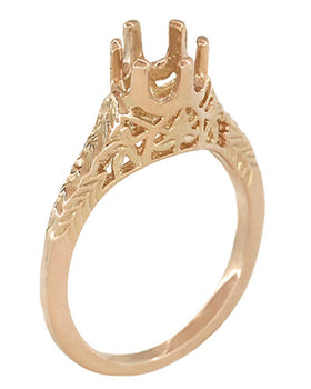 14K Rose Gold Filigree Solitaire Engagement Ring Setting for a 1/2 Carat Diamond - Art Deco Crown of Leaves Design