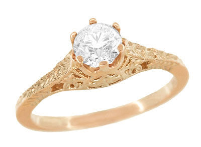 Art Deco Crown of Leaves Vintage Filigree 1/2 Carat Diamond Solitaire Engagement Ring in 14 Karat Rose Gold