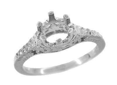 Art Deco 3/4 - 1 Carat Crown of Leaves Filigree Engagement Ring Setting in 18 Karat White Gold - Item: R299W1 - Image: 2