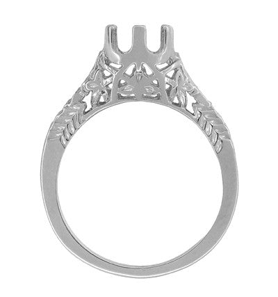 Art Deco 3/4 - 1 Carat Crown of Leaves Filigree Engagement Ring Setting in 18 Karat White Gold - Item: R299W1 - Image: 1