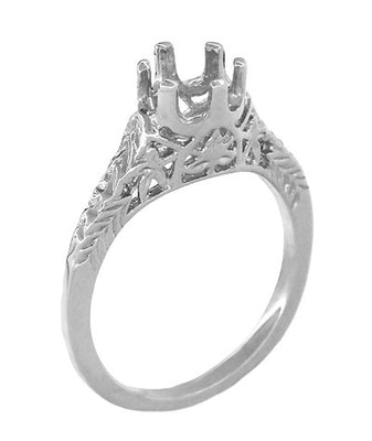 Art Deco 3/4 - 1 Carat Crown of Leaves Filigree Engagement Ring Setting in 18 Karat White Gold