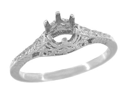 Art Deco 1/4 - 1/3 Carat Crown of Leaves Filigree Engagement Ring Setting in 18K White Gold - Item: R299W25 - Image: 2