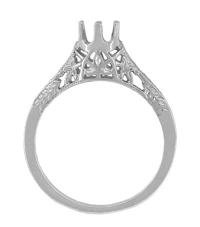 Art Deco 1/4 - 1/3 Carat Crown of Leaves Filigree Engagement Ring Setting in 18K White Gold - Item: R299W25 - Image: 1