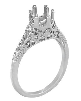 Art Deco 1/4 - 1/3 Carat Crown of Leaves Filigree Engagement Ring Setting in 18 Karat White Gold