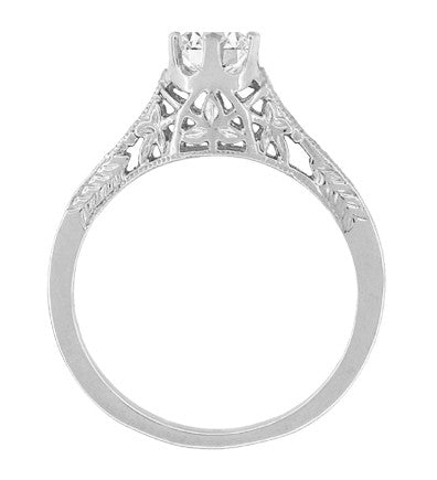 Art Deco 1/2 Carat Crown of Leaves Filigree Solitaire Diamond Engagement Ring in 18 Karat White Gold - Item: R299W50D - Image: 3