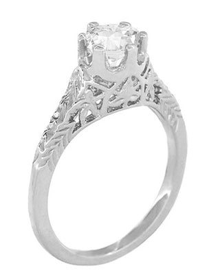 Art Deco 1/2 Carat Crown of Leaves Filigree Solitaire Diamond Engagement Ring in 18 Karat White Gold