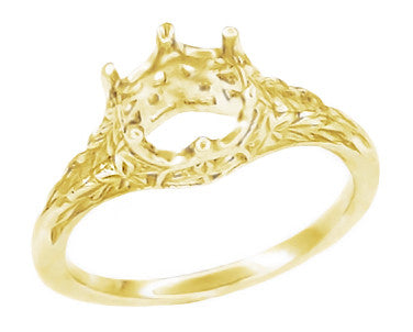 Yellow Gold Art Deco Crown of Leaves Carved Antique Filigree Solitaire Engagement Ring Setting for a Round 3/4 Carat Diamond - 6mm - 14K and 18K R299Y