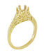 Art Deco 3/4 - 1 Carat Crown of Leaves Filigree Engagement Ring Setting in 18 Karat Yellow Gold