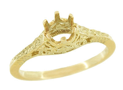 1/4 - 1/3 Carat 14K or 18K Yellow Gold Crown of Leaves Art Deco Filigree Engagement Ring Setting - Item: R299Y14K25 - Image: 2
