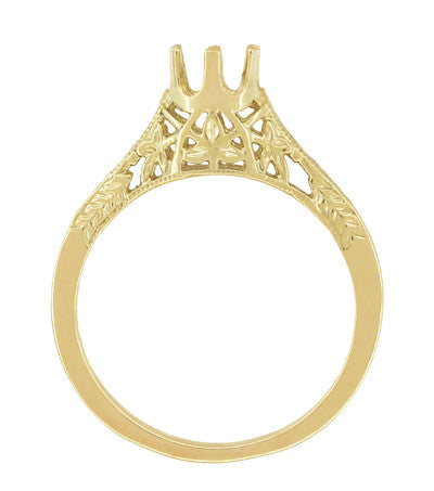 1/4 - 1/3 Carat 14K or 18K Yellow Gold Crown of Leaves Art Deco Filigree Engagement Ring Setting - Item: R299Y14K25 - Image: 1