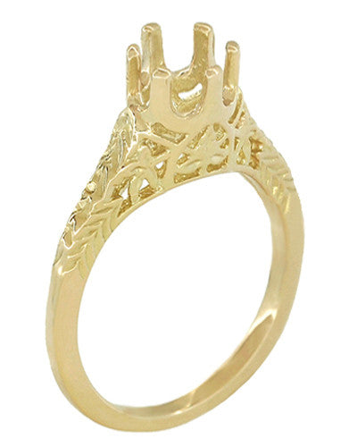1/4 - 1/3 Carat 14K or 18K Yellow Gold Crown of Leaves Art Deco Filigree Engagement Ring Setting