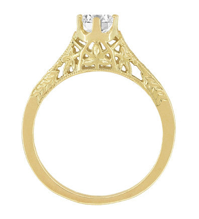 Art Deco 1/2 Carat Crown of Leaves Filigree Solitaire Diamond Engagement Ring in 18 Karat Yellow Gold - Item: R299Y50D - Image: 3