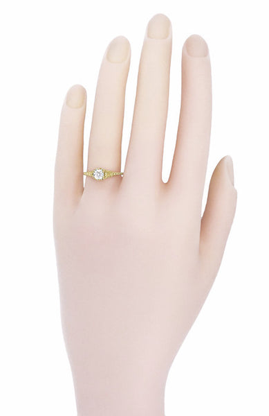 Art Deco 1/2 Carat Crown of Leaves Filigree Solitaire Diamond Engagement Ring in 18 Karat Yellow Gold - Item: R299Y50D - Image: 4