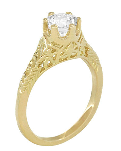 Art Deco 1/2 Carat Crown of Leaves Filigree Solitaire Diamond Engagement Ring in 18 Karat Yellow Gold - Item: R299Y50D - Image: 1