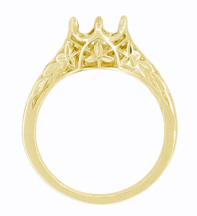 Side of Art Deco Crown of Leaves Yellow Gold Antique Filigree Engagement Ring Mounting for a Round 3/4 Carat Diamond - 6mm - R299Y