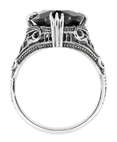 Gothic Filigree Black Onyx Claw Ring in Sterling Silver - Art Deco Engraved - Item: R302 - Image: 1