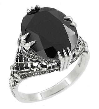 Gothic Filigree Black Onyx Claw Ring in Sterling Silver - Art Deco Engraved