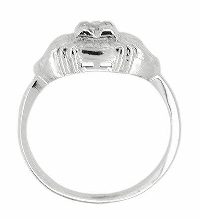 Art Deco East West Engraved Diamond Ring in 14 Karat White Gold - Item: R304 - Image: 1
